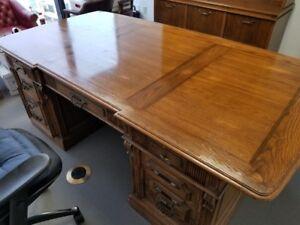 antique reproduction solid oak desk