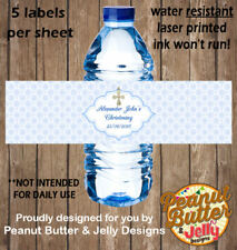 Personalised Christening / Baptism WATER BOTTLE Sticker Labels - 5 Per Page