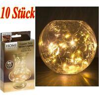 10 Stück 2M 20er LEDs Lichterkette Draht Micro warmwei?, Knopf batteriebetrieben