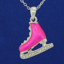 Ice Skating Shoe W Swarovski Crystal Hot Pink Figure Hockey Pendant Necklace