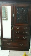 Antique victorian mahogany carved mirrored compactum wardrobe/cubboard & draws