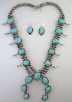 Sterling Silver & Sonora Turquoise Squash Blossom Necklace & Earrings Set