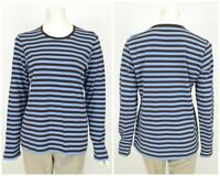 Womens Marimekko Top T-Shirt Basic Long Sleeve Striped Cotton Blue Brown Size L