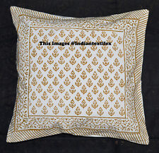 New Hand Block Print Cushion Cover Ethnic White Pillow Cotton Home Decor Crazy