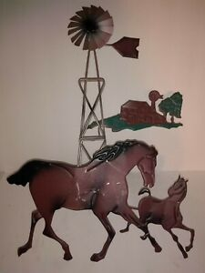 WALL SCULPTURE HANGING HORSES RUNNING PAINTED METAL FARM & WEATHER VANE IN BACK
