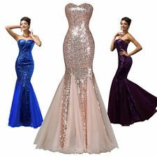 Sequins FISHTAIL Evening Prom Gown Ball Wedding Party Formal Long Cocktail Dress