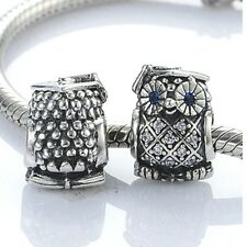GRADUATION OWL w BLUE EYES  .925 Sterling Silver European Charm Bead