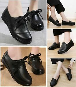 New Ladies Black Leather Shoes Flats Slip On Loafers GENUINE LEATHER WORK SHOES