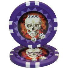 50pcs 13.5g Skull Casino Poker Chips $500