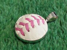 Pink Baseball Necklace Pendant Made From a Real Baseball With Pink Stitches
