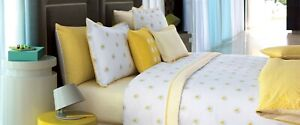 New Yves Delorme A La Folie Queen Fitted Sheet Yellow White Petal Graphic Cotton