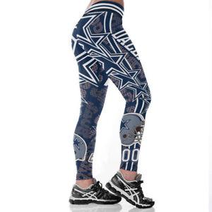 Dallas Cowboys Womens Slim Fitness Leggings Sport Yoga Pants Full Size Stretch