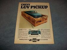 "1974 Chevy Luv Pickup Vintage Ad ""Little Chevy Import. Big Chevy Value"" Mikado"