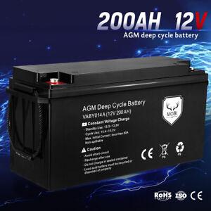 MOBI 200AH 12V AGM Deep Cycle Battery Camping Marine 4WD Solar SLA Lead Acid