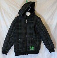 Boys Primark Black Grey Green Check Fleece Lined Bomber Jacket Age 5-6 Years
