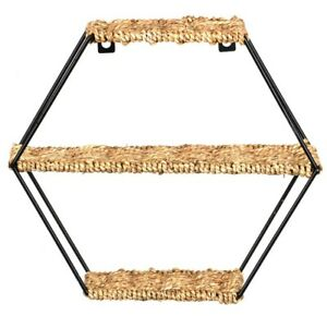 Hanging Wall Shelf - Rustic Octagon Floating Shelves Woven Rope 3 Tier Display