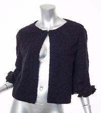 VALENTINO Womens *RUNWAY* Black Textured Knit Wool Ruffle Sleeve Jacket Coat S