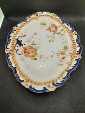 More details for vintage adderley - pair of 2 oval floral scalloped rim plates pattern 9835