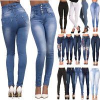 Damen High Waist Denim Jeans Hose Jeggings Treggings Stretch Skinny Röhrenhose