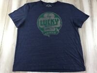 Lucky Brand Shirt Mens 2XL XXL Blue Green Clover Casual Good Luck Charm