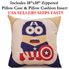 "18x18 18"" MINION CAPTAIN AMERICA Zipper Throw Pillow Case Cushion Disney Marvel"