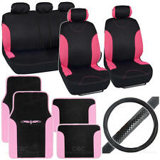 14pc Interior Full Set Car Seat Cover, Mat & Steering Wheel Cover - Black / Pink
