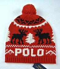 Polo Ralph Lauren Reindeer Wool Hat Toboggan Beanie Holiday Item OSFA RED $98
