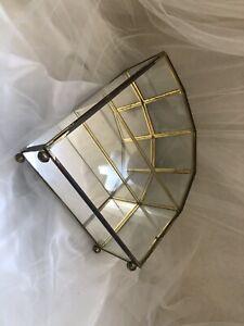 "Franklin Mint Vintage Glass Brass Curio Cabinet 9.5""Tx8.5""Wx4""D"