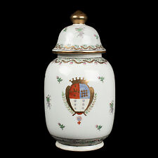 Cina 20. JH. Tè Barattolo-a Chinese EXPORT porcelain Armorial Tea Caddy-chinois