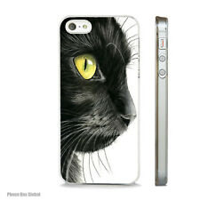 NEW BLACK CAT ART CLEAR CASE FITS IPHONE 4 4S 5 5S 5C 6 6S & PLUS FREE P&P.