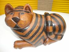 Hand carving Wood Garfield cat statue shaped   hidden jewerly compartmet box
