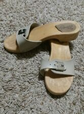 """""""Made in Italy"""" Wood-like Slide Sandals Women's Size 37 / 6 Tan with Buckle"""
