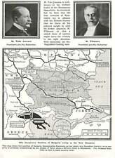 WW1 Dangerous Position Of Bulgaria Threatened By Romania Map Jonescu Filipescu