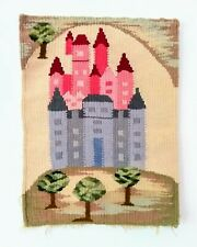 Vintage Fiber Art Woven Wall Hanging Castle Scene Artist Estate Piece Large