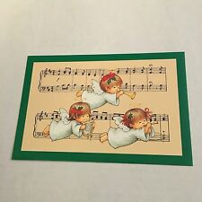 Vintage Greeting Card Christmas Angel Music Notes