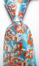 New Classic Floral Blue Orange White JACQUARD WOVEN 100% Silk Men's Tie Necktie