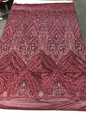 BURGUNDY SEQUIN DIAMOND DESIGN EMBROIDERY ON A 4 WAY STRETCH MESH-SOLD BY YARD.