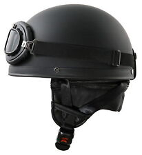 Retro Helm Schwarz matt Gr: L 59-60 Motorradhelm Oldtimerhelm Halbschale