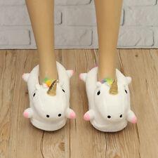 Women Girls Chic Plush Unicorn Led Light Up Slippers Fluffy Warmer Shoes Winter
