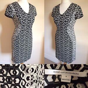 "DIANE VON FURSTENBERG Black White Grey GEOMETRIC Sheath Dress Sz 12 US 8 L36"""