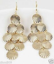 9k Yellow Gold Filled Women Elegant Rhinestone Ear Stud Dangle Earrings E501
