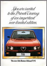 Alfa Romeo Alfasud 1.5 TiS Limited Edition 1980 UK Market Sales Brochure
