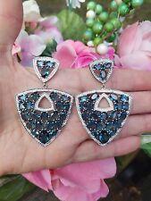 Huge 25ctw Oval Cut London Blue Topaz Trillion Cluster Earrings, Rhodium/Silver