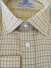 """Harvie /& Hudson 18.5// 35/"""" Brushed Cotton Large Green//Red Check Single Cuff Shirt"""