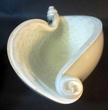 Vtg Murano Italian Glass SHELL Bowl Seguso Gold Inclusions Sommerso Bullicante