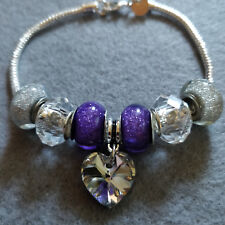 Silver Charm Bracelet with Purple Acrylic and Glass Charms