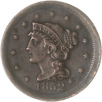 1852 Braided Hair Large Cent Very Fine VF