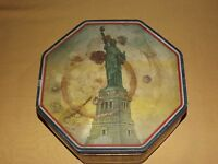VINTAGE MADE USA LOOSE WILES STATUE OF LIBERTY SUNSHINE BISCUIT OCTAGON TIN