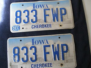 Vintage pair 1999 Iowa Cherokee 833 FWP License Plates
