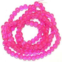 G2790 Pink Fuchsia 6mm Round Crackle Glass Beads 30""